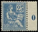 Lot n� 1573 - ** - 118   Mouchon, 25c. bleu, Mill.0, excellent centrage, nuance fonc�e, TTB