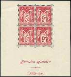 Lot n� 1628 - ** - 216   Expo Paris, 5f. carmin, BLOC de 4 avec bords, Emission sp�ciale/PARIS-1925, TB