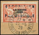 Lot n� 1652 -  - 257A  Expo Le Havre, 2f. orange et vert-bleu, obl. c�d de l'Expo 25/5/29 s. fragt, TB
