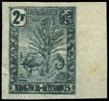 Lot n° 3823 - * - MADAGASCAR 76 : 2f. ardoise, DOUBLE IMPRESSION, NON DENTELE bdf, TB