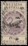 Lot n° 4598 -  - AUSTRALIE OCCIDENTALE Timbres Fiscaux Postaux 13 : 5s. lilas, obl., TB