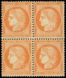 Lot n° 435 - ** - 38   40c. orange, BLOC de 4, un ex. infime ch., TB. C