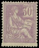 Lot n° 1279 - * - 115   Mouchon, 30c. violet, timbre PLUS GRAND, inf. ch., TB