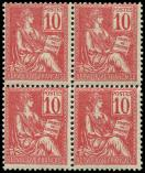 Lot n° 1271 - ** - 112   Mouchon, 10c. rose, BLOC de 4, TB