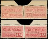 Lot n� 2161 - ** - 15a  0.35 rouge, PAIRE impression RECTO-VERSO, bdf, TB, Yvert N�20