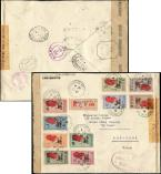 Lot n° 3859 - <span><img src='https://www.ceres.fr/img/ImgLet.jpg' height=14 width=18 alt='Let' border='0'></span> - MADAGASCAR PA 45/54 : la série FRANCE LIBRE obl. càd TANANARIVE 27/10/43 s. Env. Rec. avec CENSURE, arr. USA, TB