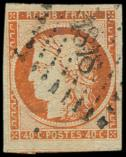 Lot n� 133 -  - 5    40c. orange, voisin en bas, oblit�r� PC 1818, TB