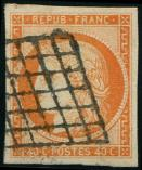 Lot n� 134 -  - 5    40c. orange, obl. GRILLE, grandes marges, TTB