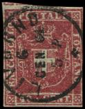 Lot n� 4812 -  - ITALIE (ANCIENS ETATS) TOSCANE 21 : 40c. rouge, obl. c�d, court au filet, TB. C