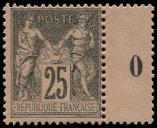 Lot n° 1119 - ** - 97   25c. noir sur rose, Mill.0, TB