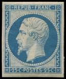 Lot n° 225 - * - R10c 25c. bleu, REIMPRESSION, TB. C