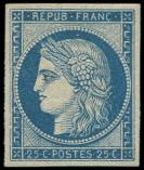 Lot n� 183 - * - R4d  25c. bleu, REIMPRESSION, TB