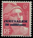 Lot n° 2944 - ** - JERUSALEM 3 : 20m. s. 6f. rouge, TB. Br