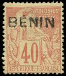 Lot n° 3860 - (*) - BENIN 11 : 40c. rouge-orange, TB