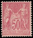Lot n° 1122 - ** - 98   50c. rose, T II, TB