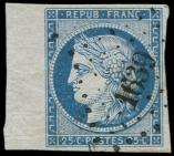 Lot n� 104 -  - 4    25c. bleu, bdf, obl. PC 1639 de LANGRES, TTB