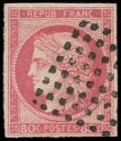 Lot n° 3689 -  - 21   80c. rose, oblitéré Losange de 64 points, TB