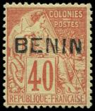Lot n° 3858 - * - BENIN 11 : 40c. rouge-orange, surch. T II, bon centrage, frais, TTB, cote Maury
