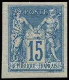 Lot n° 1090 - ** - 90b  15c. bleu, NON DENTELE, TB