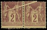 Lot n° 1071 - * - 85    2c. brun-rouge, PAIRE avec PLI ACCORDEON, R et TB