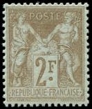 Lot n° 1147 - ** - 105   2f. bistre sur azuré, excellent centrage, TTB