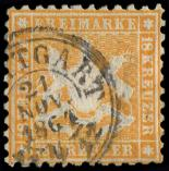 Lot n� 4716 -  - ALLEMAGNE (ANCIENS ETATS) WURTEMBERG 29 : 18k. orange, obl., TB