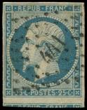Lot n° 208 -  - 10   25c. bleu, voisin en bas, obl. PC 441, TTB