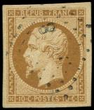 Lot n° 199 -  - 9a   10c. bistre-brun, obl. PC, belles marges, TTB