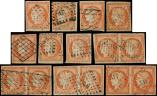 Lot n� 142 -  - 5    40c. orange, 7 unit�s et 4 paires, tous obl., 2e choix, aspects B/TB