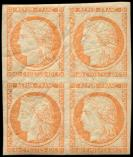 Lot n� 185 - ** - R5g  40c. orange, REIMPRESSION, BLOC de 4, tr�s belle gomme craquel�e d'origine, TTB