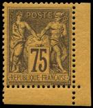 Lot n° 1129 - ** - 99   75c. violet sur orange, cdf, TB