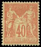 Lot n° 1104 - * - 94   40c. rouge-orange, bien centré, TB
