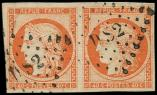 Lot n° 138 -  - 5    40c. orange, PAIRE obl. Los. DS2, TTB