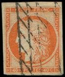 Lot n� 136 -  - 5    40c. orange, obl. GRILLE SANS FIN, tr�s belles marges, TTB