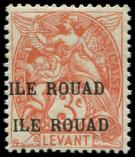 Lot n° 4521 - * - ROUAD 6a : 3c. orange, DOUBLE surcharge, TB. Br