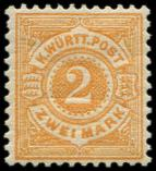 Lot n� 4718 - * - ALLEMAGNE (ANCIENS ETATS) WURTEMBERG 51 : 2m. ocre, TB. C