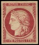 Lot n� 188 - * - R6f   1f. carmin fonc�, REIMPRESSION, frais, TB