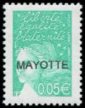 Lot n° 4301 - ** - MAYOTTE 114a : 0,05 émeraude, GRANDE surcharge, TB