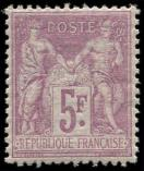 Lot n° 1107 - ** - 95    5f. violet sur lilas, excellent centrage, TTB
