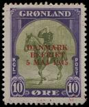 Lot n� 4717 - ** - DANEMARK Gro�nland 18D : 10�., surcharge rouge, TB
