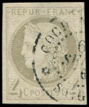 Lot n° 3492 -  - 16    4c. gris, obl. càd COCHINCHINE, léger pelurage, TB