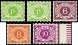Lot n� 4741 - ** - IRLANDE Taxe 11/14 et 14a 1s. vert, filigrane couch�, TB