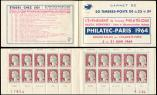 Lot n� 2350 -  - 1263-C4    Marianne de Decaris, 0,25 gris et grenat, n�1263c, T I, S. 6-64, PHILATEC-PARIS 1964, dat�, TB