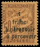 Lot n° 4387 - * - MONACO Taxe 17a : 1f. s. 50c. orange, DOUBLE surcharge, TB