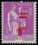 Lot n° 2727 - * - 484a  Paix,  1f. s. 1f.40 lilas, DOUBLE surcharge, TB. Br