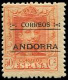 Lot n� 4700 - ** - ANDORRE ESPAGNOL 9B : 50c. orange, dentel� 13 x 12 1/2, N�A000.000, TB