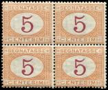 Lot n� 4755 - ** - ITALIE Taxe 5 : 5c. orange et carmin de 1890, BLOC de 4, TB, cote Sassone, sign� Raybaudi